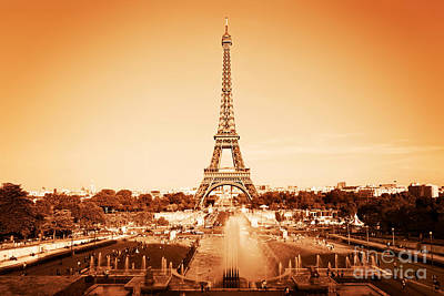 Vintage Photograph - Eiffel Tower And Fountain Paris France by Michal Bednarek