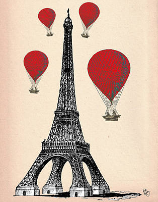 Paris Digital Art - Eiffel Tower And Red Hot Air Balloons by Kelly McLaughlan