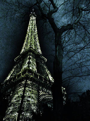 Eiffel Tower At Moonlight Print by Marianna Mills