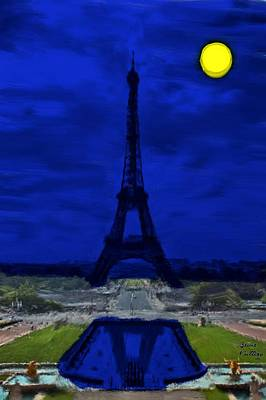 Moon Painting - Eiffel Tower At Night by Bruce Nutting