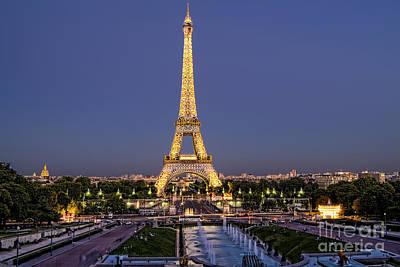 Photograph - Eiffel Tower At Night, Paris by Bill Bachmann