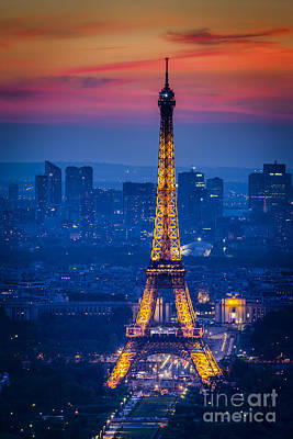 Paris Skyline Royalty-Free and Rights-Managed Images - Eiffel Tower at Twilight by Brian Jannsen