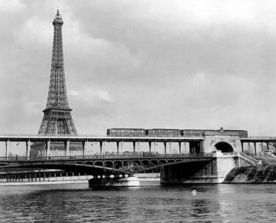 Vintage Eiffel Tower Photograph - Eiffel Tower Behind Bridge. by Retro Images Archive