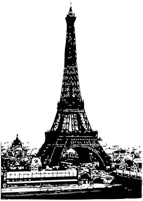Eiffel Tower Drawing - Eiffel Tower Black by