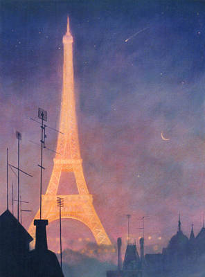 Painting - Eiffel Tower by Blue Sky