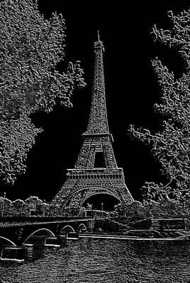 Eiffel Tower Charcoal Negative Image Dark Art Print by L Brown
