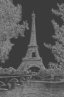 Eiffel Tower Charcoal Negative Image Art Print by L Brown