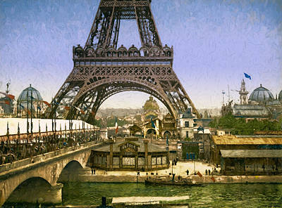 Horse And Buggy Painting - Eiffel Tower World's Fair by John K Woodruff