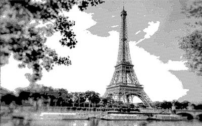 Paris Skyline Drawings - Eiffel Tower - Cross Hatching by Samuel Majcen
