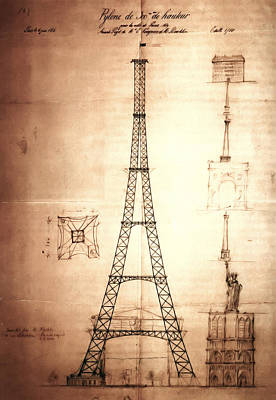 Paris Digital Art - Eiffel Tower Design by Bill Cannon