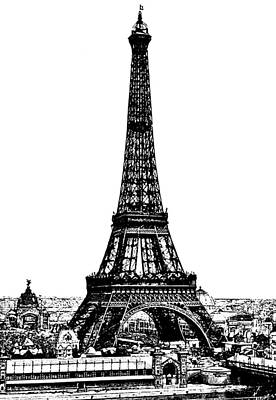 Eiffel Tower Drawing 19th Century Art Print by