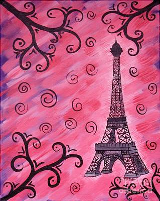 Painting - Eiffel Tower In Pink by Vicki Maheu