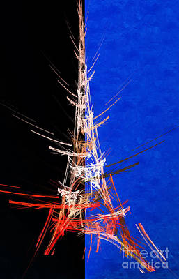 Eiffel Tower In Red On Blue  Abstract  Art Print by Andee Design