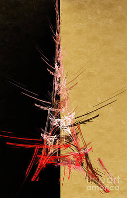Eiffel Tower In Red On Gold  Abstract  Print by Andee Design