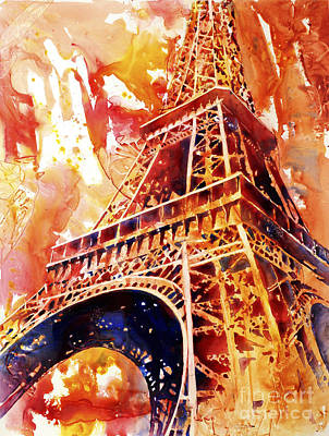 Painting - Eiffel Tower In Red by Ryan Fox