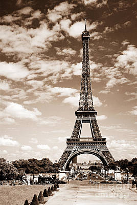 Eiffel Tower In Sepia Art Print by Elena Elisseeva