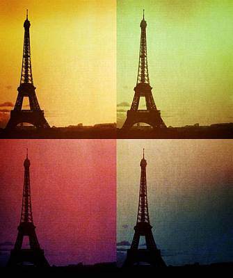 Abstract Skyline Rights Managed Images - Eiffel Tower in Sunset Royalty-Free Image by Marianna Mills