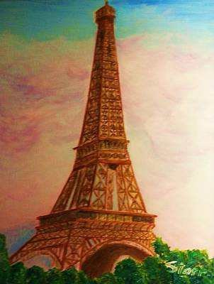 Paris Skyline Royalty-Free and Rights-Managed Images - Eiffel Tower In THe Clouds by Irving Starr