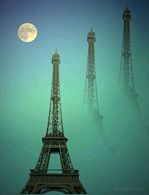 Friendly Digital Art - Eiffel Tower by Joyce Dickens