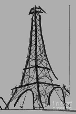 Mirror Drawing - Eiffel Tower Lines by Robyn Saunders