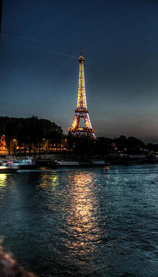 Eiffel Tower Night Time Art Print by Steve Ellenburg