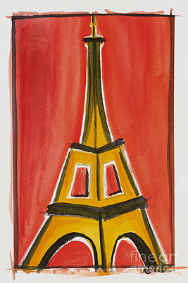Painting - Eiffel Tower Orange And Yellow by Robyn Saunders