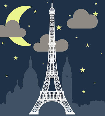 Eiffel Tower Over Night With Stars And Art Print by Atypeek