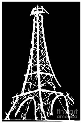 Painting - Eiffel Tower Paris France White On Black by Robyn Saunders