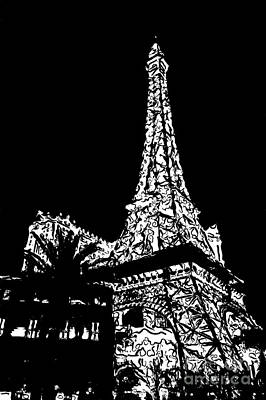 Eiffel Tower Paris Hotel Las Vegas - Pop Art - Black And White Art Print by Ian Monk