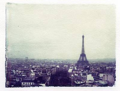 Eiffel Tower Paris Polaroid Transfer Art Print by Jane Linders