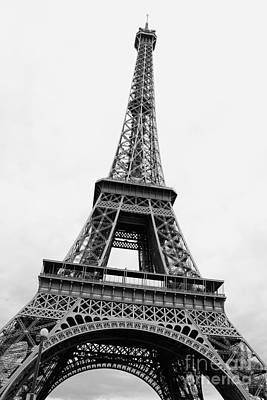Eiffel Tower Perspective - Black And White Art Print
