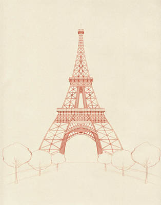 Eiffel Tower Blush Art Print by Catherine Noel