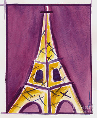 Painting - Eiffel Tower Purple And Yellow by Robyn Saunders