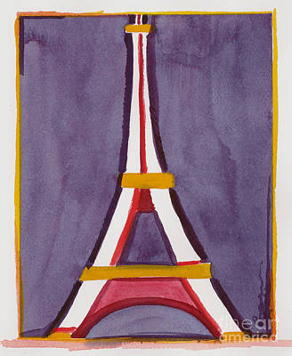 Painting - Eiffel Tower Purple Red by Robyn Saunders