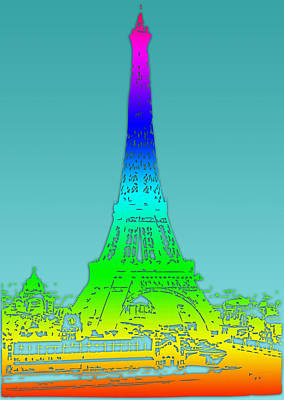 Eiffel Tower Rainbow Art Print