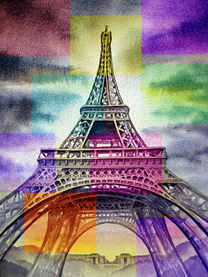 Painting - Eiffel Tower Rainbow by Irina Sztukowski