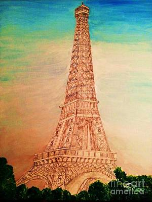 Until Now Painting - Eiffel Tower Rainbow by Irving Starr