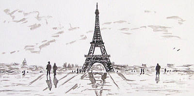 Painting - Eiffel Tower Rainy Day by Kevin Croitz