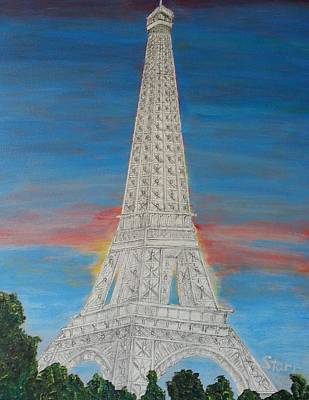 Eiffel Tower Red Sky Mm Art Print by Irving Starr