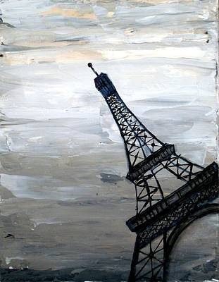Louvre Mixed Media - Eiffel Tower Silhouette by Holly Anderson