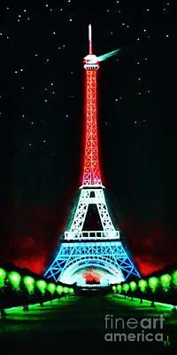 Sunsert Painting - Eiffel Tower by Thomas Kolendra