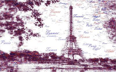 Paris Skyline Royalty-Free and Rights-Managed Images - Eiffel Tower - Typography by Samuel Majcen