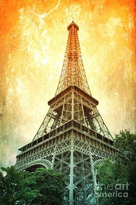 Digital Touch Photograph - Eiffel Tower Warmth by Carol Groenen