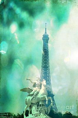 Photograph - Eiffel Tower With Blue Textures by Carol Groenen