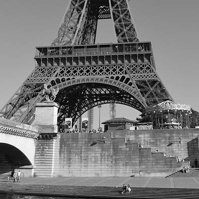 Photograph - Eiffel Tower With Steps by Cheryl Miller