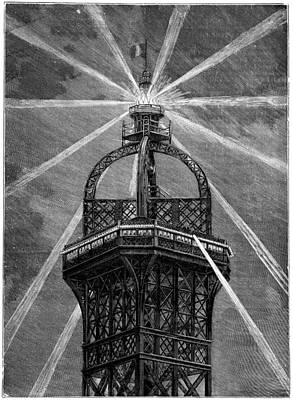 1880s Photograph - Eiffel Tower's Electric Lamp, 1889 by Science Photo Library