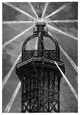 Eiffel Tower's Electric Lamp Art Print