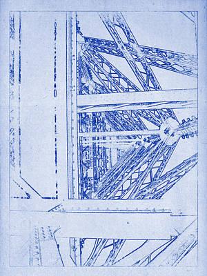 Photograph - Eiffel Towers Steel Frame Blueprint by Kaleidoscopik Photography