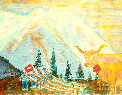 Eiger Mountain Above Grindelwald Switzerland 1 Art Print by Richard W Linford