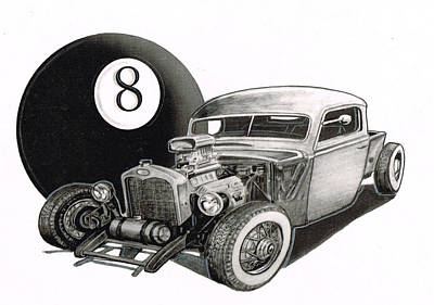 Street Rod Drawing - Eight Ball Rod-001 by Keith Spence